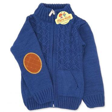 Jacheta tricotata baieti 9 luni-3 ani, bleumarin, coate maro