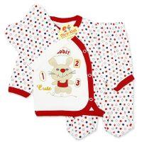 Costumas bumbac bebelusi 1-3 luni, iepuras, rosu