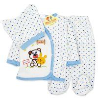 Costumas bumbac bebelusi 1-3 luni, ursulet, bleu
