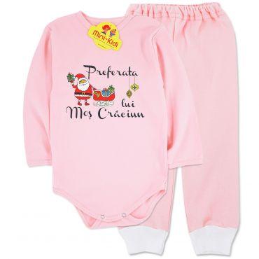 Costumas Preferata lui Mos Craciun 0-3 ani, bumbac pieptanat, roz