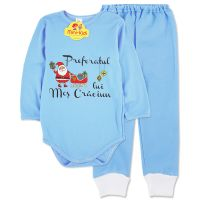 Costumas Preferatul lui Mos Craciun bebelusi 0-18 luni, bleu, bumbac pieptanat