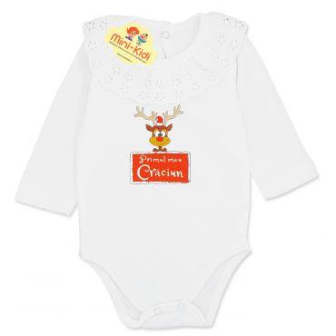 Body elegant Primul Craciun bebelusi 3-12 luni, guler dantela