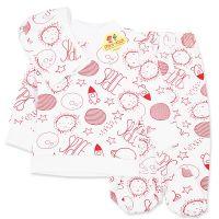 Pijamale din bumbac bebelusi 3-6 luni, 3 piese, in spatiu