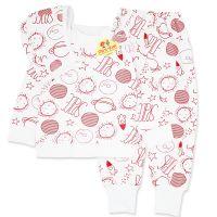 Pijamale din bumbac copii 6 luni-3 ani, 3 piese, spatiul cosmic