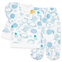Pijamale din bumbac pentru bebelusi 3-6 luni, 3 piese, spatiul comic