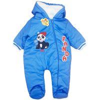 Combinezon gros din fas 3-12 luni, bleu, panda