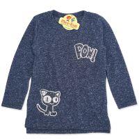 Bluza lunga fetite 3-7 ani, pisicuta, paiete, gri petrol