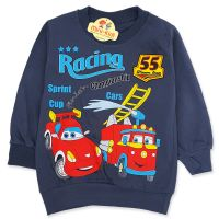 Bluza bumbac copii 9 luni-4 ani, cursa de masini, gri