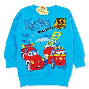 Bluza bumbac copii 9 luni-4 ani, cursa de masini, albastru