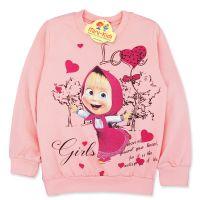 Bluza bumbac fetite 4-9 ani, Masha, roz somon