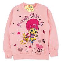 Bluza bumbac fetite 4-9 ani, Shimmer si Shine, roz somon
