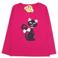 Bluza fetite 5-8 ani, paiete reversibile, pisicuta, fuchsia