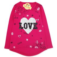 Bluza fetite 5-8 ani, paiete reversibile, love, fuchsia