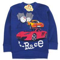 Bluza bumbac plinut, baieti 3-8 ani, cursa de masini, bleumarin