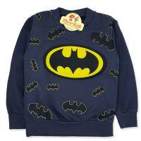 Bluza bumbac plinut, baieti 3-8 ani, Batman, gri petrol