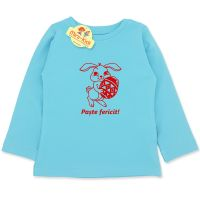 Bluza turcoaz mesaj Paste fericit, copii 9 luni-4 ani, bumbac