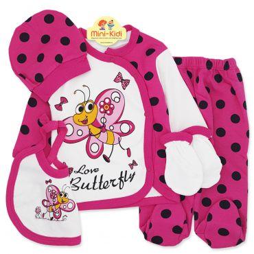 Costumas bebelusi 1-3 luni, 5 piese, fluturas