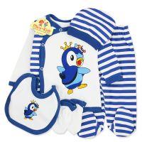 Costumas bebelusi 1-3 luni, 5 piese, pinguin