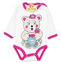 Body bumbac bebelusi 1-18 luni, ursulet, roz