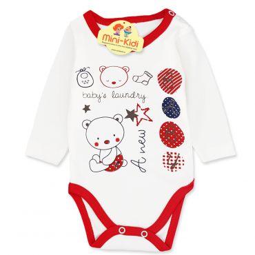 Body bumbac bebelusi 1-18 luni, ursulet, rosu