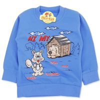 Bluza bumbac copii 9 luni-4 ani, animalute, albastru