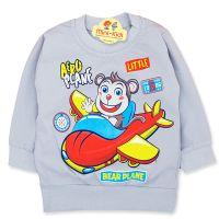 Bluza bumbac copii 9 luni-4 ani, maimutica pilot, gri