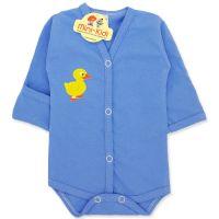 Body albastru cu manusa si capse nou-nascuti 0-1 luni, boboc