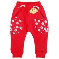 Pantaloni moderni cu turul lasat, fetite 1-4 ani, floricele, corai