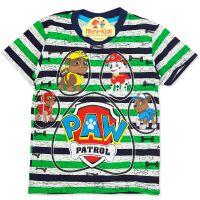 Tricou bumbac copii 3-8 ani, Patrula Catelusilor, dungi, verde