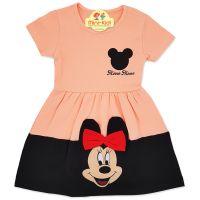 Rochita bumbac fetite 2-6 ani, Minnie, roz somon-negru