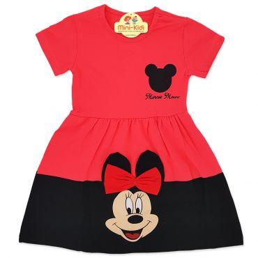 Rochita bumbac fetite 2-6 ani, Minnie, rosu corai-negru