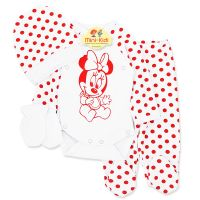 Costumas bumbac bebelusi 1-3 luni, 4 piese, Minnie Mouse