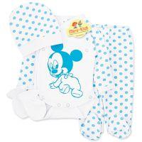 Costumas bumbac bebelusi 1-3 luni, 4 piese, Mickey Mouse