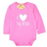 Body bumbac bebelusi 0-3 ani, mesaj I love mami, roz