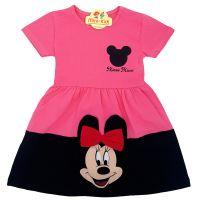 Rochita bumbac fetite 2-6 ani, Minnie, roz-negru