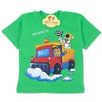 Tricou copii 9 luni-4 ani, masinuta, verde