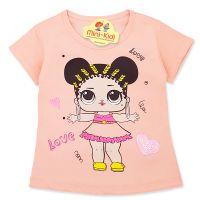 Tricou copii-fetite 9 luni-4 ani, LOL, roz somon