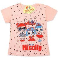 Tricou copii 9 luni-4 ani, fetitele LOL, roz somon, stelute