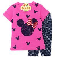 Compleu de vara fetite 9 luni-3 ani, tricou cu colanti, roz