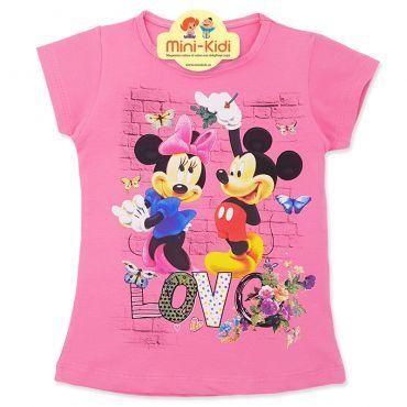 Tricou bumbac fete 4-8 ani, Minnie & Mickey, roz