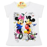 Tricou bumbac fete 4-8 ani, Minnie & Mickey, alb