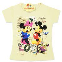 Tricou bumbac fete 4-8 ani, Minnie & Mickey, galben pai
