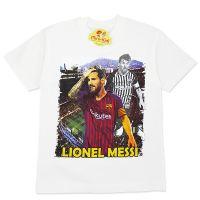 Tricou bumbac baieti 7-12 ani, Messi, crem