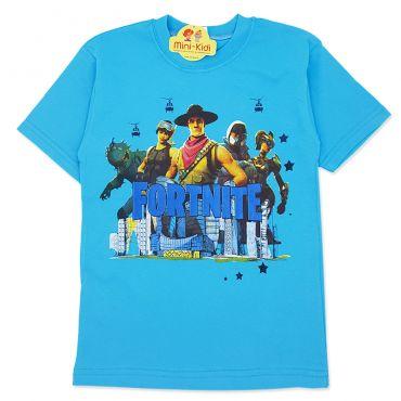 Tricou bumbac baieti 7-12 ani, Fortnite, turcoaz