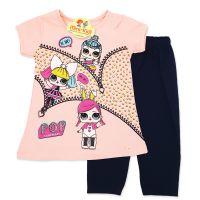 Compleu vara fetite 9 luni-3 ani, bluza cu colanti, LOL, roz somon