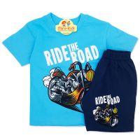 Compleu de vara copii 3-8 ani, Ride the road, turcoaz