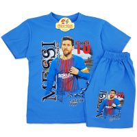Compleu de vara copii 7-12 ani, Messi, albastru