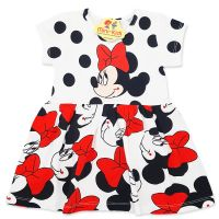 Rochita bumbac fetite 1-6 ani, Minnie Mouse, buline negre
