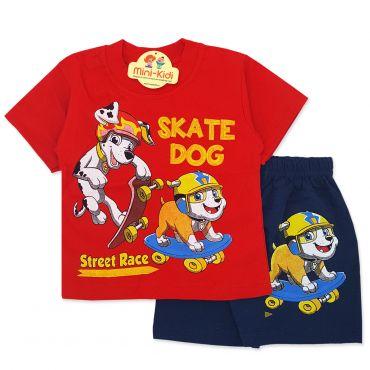 Compleu de vara copii 9 luni-4 ani, catelusi pe skateboard, rosu