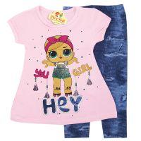 Compleu vara fetite 2-6 ani, bluza cu colanti, LOL, roz